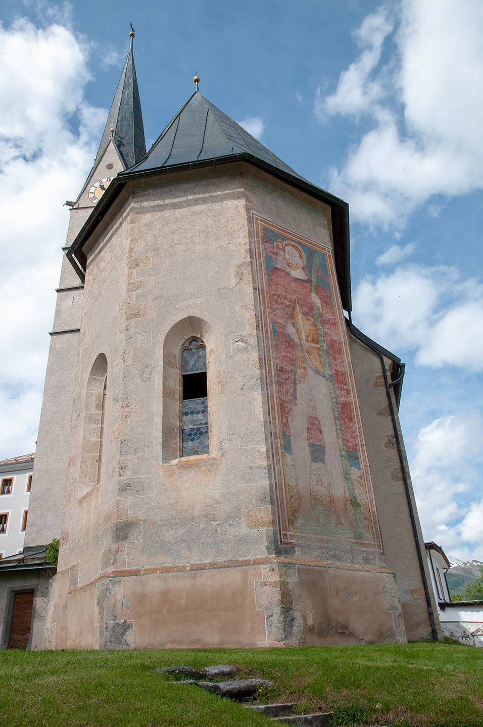 Church from Sta.Maria with the mural of St. Christophorus made by a southtyrolian master in 1513