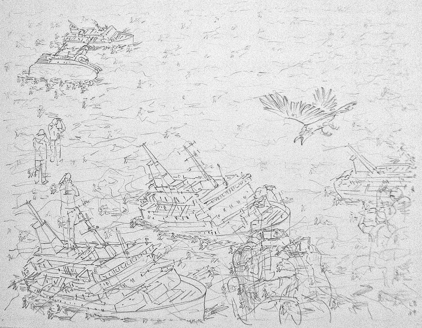 Leo Brunschwiler, sinking ships, dead redtails, tourists and attacking bird, pencil on polyester foil, 28 cm x 35 cm , 2019