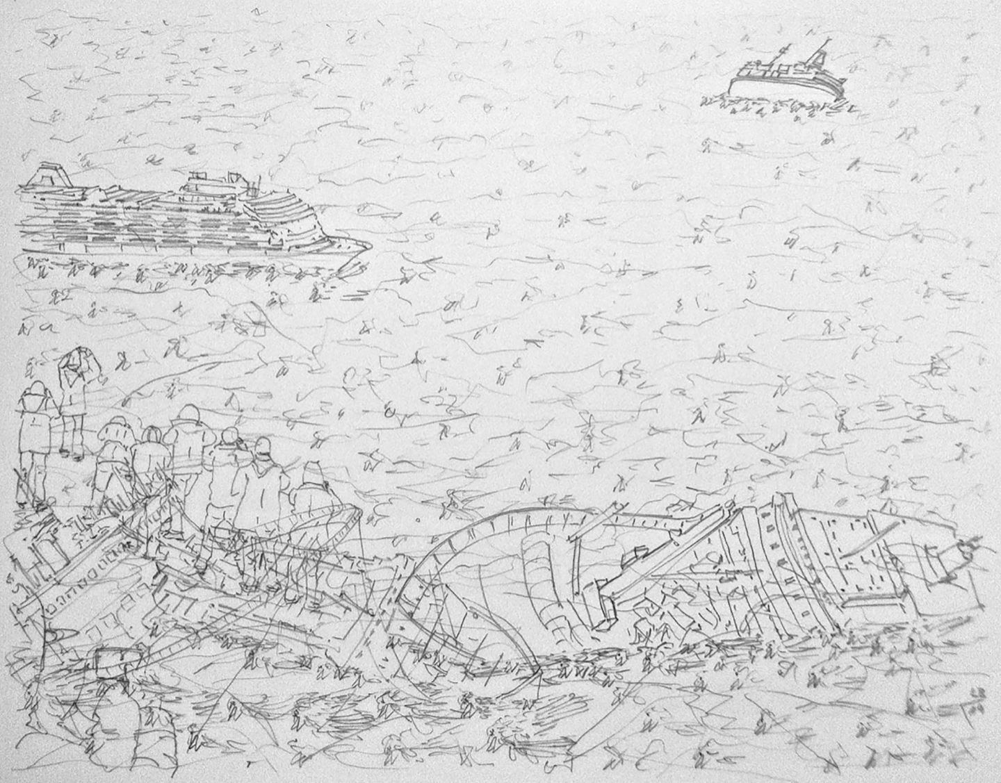 Leo Brunschwiler, sinking ships, dead redtails and tourists, pencil on polyester foil, 28 cm x 35 cm , 2019